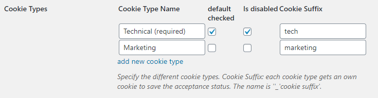 cookie consent types table